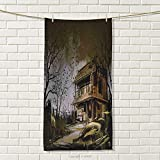 smallbeefly Rustic Travel Towel Old Haunted Abandoned Wood House at The Dark Night with Bats Scary Horror Paint 100% Microfiber Multicolor Size: W 27.5'' x L 56''