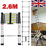 DIY Multi-Purpose Aluminium Telescopic Ladder 2.6M (8.5FT) Portable 9 Steps Extension Extend Ladder