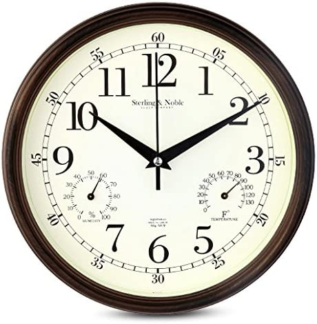 9 Inch Silent Wall Clocks Modern Designs with Temperature and Humidity  Kitchen Clock Movement Home