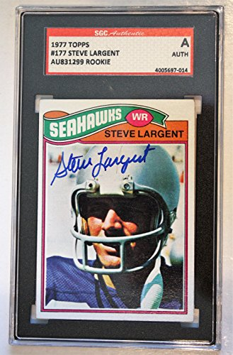 Autographed Steve Largent 1977 Topps Rookie Seattle Seahawks Card #177 SGC Slabbed 1977 Rookie Card