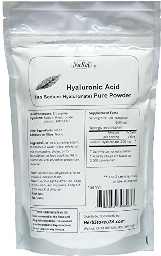 NuSci Pure Hyaluronic Acid HA Sodium Hyaluronate Powder (250 grams (8.8 oz)) by NuSci