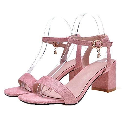 Fibbia Medio Rosa Pelle Punta Di Aperta Donna Puro Sandali Agoolar Mucca Tacco XfxFHqCw