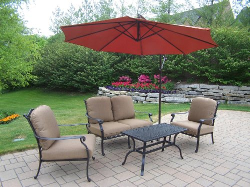 Oakland Living Hampton 4-Piece Chat Set with Sunbrella Cushions and 10-Feet Cantilever Umbrella