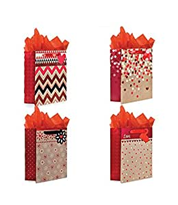 Gift Bags Set of 4 Medium Gift Bags w/ Tissue Paper Included, Great for Mother's Day, Valentines Day & More. Glitter & Reflective Foil Designs