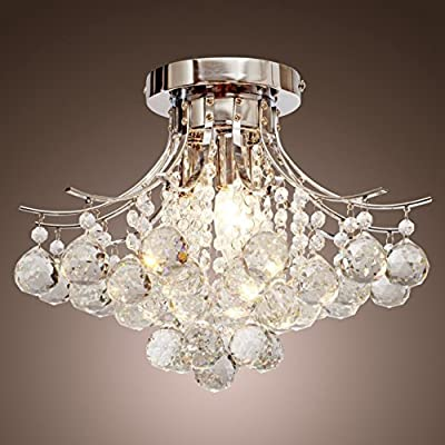 Crystal Chandelier,Create for Life Flush Mount Chandelier with Crystals 3 Lights, Flush Mount Ceiling Light Fixture