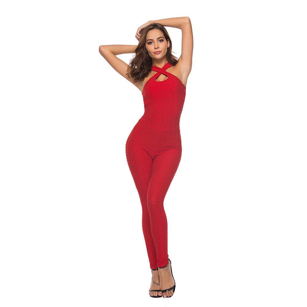 Pantaloni Sportivi da Palestra Fitness da Allenamento per Tuta Sportiva per Donna Body Monopezzi e Tutine Yoga di Un Pezzo Indietro Aperto di Hip-Hop S,M,L,XL JiaMeng Jumpsuit