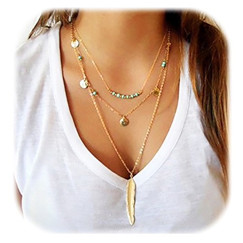 (Suyi Exquisite Sequins Multilayer Chain Turquoise Beads Necklace with Feather Pendent)