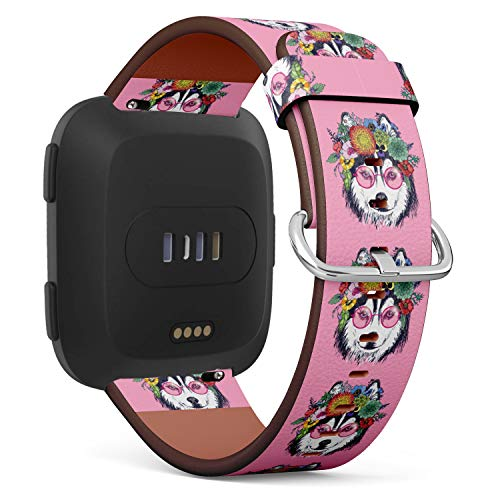 (Replacement Leather Strap Printing Wristbands Compatible with Fitbit Versa - Funny Husky Wearing Sunglasses and Floral)