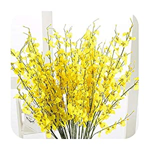Artificial Fowers 10Pcs/Lot 95Cm Yellow/White/Blue/Pink Silk Cloth Plastic Butterfly Orchid for Home Decoration DIY Artificial Flower Branch,Yellow 34