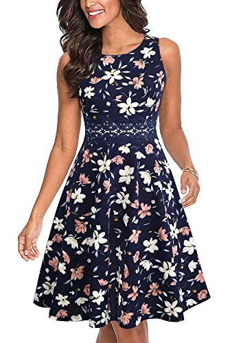 HOMEYEE Women's Sleeveless Cocktail A-Line Embroidery Party Summer Dress A079 (4, - Dress Girl Summer Flower