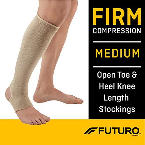 Futuro Therapeutic Knee Length Stocking for Men/Women, Helps Relieve Symptoms of Mild Spider Veins, Firm Compression, Open Toe/Heel, Medium, Beige, 1 Count