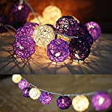Handmade Rattan Ball String Lights with Timer,Battery 20 Warm White LED Christmas Indoor Fairy Lights for Bedroom, Wedding, Party,Wall Decor, College Art Project [ Rattan Ball's Diameter:5cm/2.04 in -Clear Cable ] (Purple)