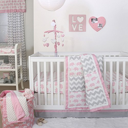 Ellie Pretty Patch Pink Elephant Crib Bedding - 20 Piece Nursery Essentials Set