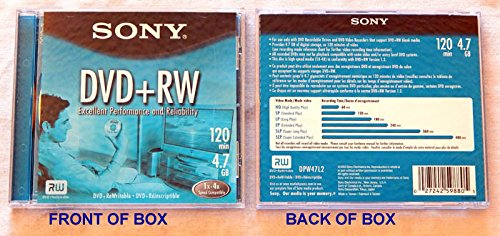 Sony Blank Media: DVD+RW 4X Rewritable 120-Minute 4.7GB Blank DVD - # DPW47L2 - Unused and Uncirculated DVD shipped in a Jewel Box.