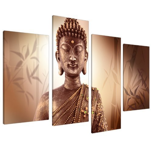 - Large Brown Buddha Split Canvas Wall Art Pictures - Modern Inspirational Prints - Big Peaceful Relaxing Artwork - Multi Panel - Set of 4 Canvases - XL - 130cm Wide
