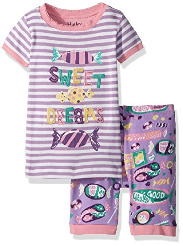 Hatley Girls' Little Organic Cotton Short Sleeve Applique Pajama Set, Kitty Candy, 4 Years