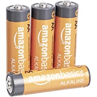 Amazon Basics 4 Pack AA High-Performance Alkaline Batteries, 10-Year Shelf Life, Easy to Open Value Pack