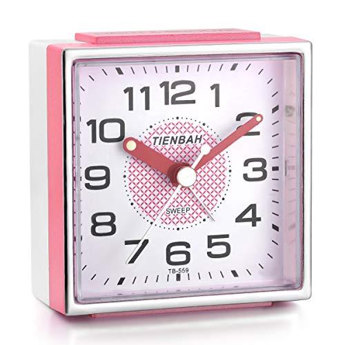 Juboos Travel Clocks, Square Alarm Clocks with Snooze and Nightlight Travel Alarm Clock Non Ticking Silent Sweep Second Hand, Lightweight Analog Quartz Clock (Pink)