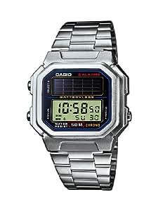 Casio CASIO Collection Men - Reloj digital de caballero de cuarzo con correa de acero inoxidable plateada (alarma, cronómetro, luz, solar) - sumergible a 50 metros