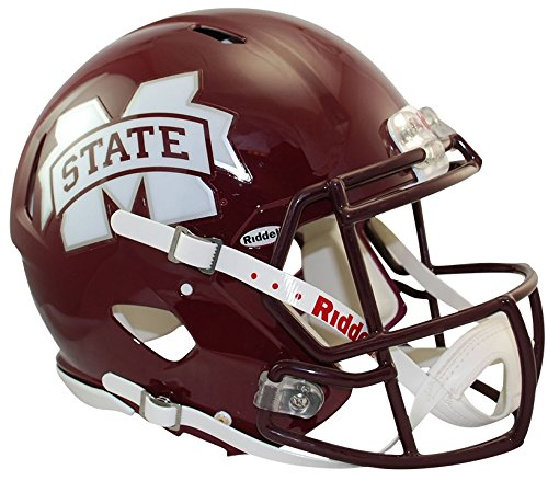 Riddell Sports NCAA Mississippi State Bulldogs Speed Authentic Helmet, Maroon Authentic Pro Line Revolution Helmet