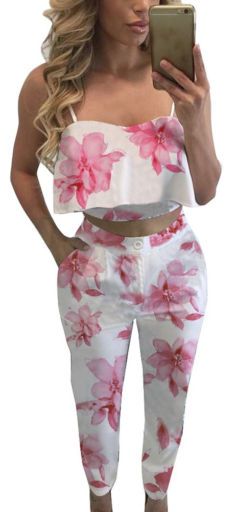 FANCYINN Women 2 Pieces Set Light Pink Floral Print Crop Top and Bodycon Long Pants Casual Style S