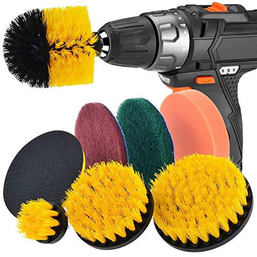 Price comparison product image JUSONEY Drill Brush Scrub Pads 8 Piece Power Scrubber Cleaning Kit - All Purpose Cleaner Scrubbing Cordless Drill for Cleaning Pool Tile,  Sinks,  Bathtub,  Brick,  Ceramic,  Marble,  Auto,  Boat