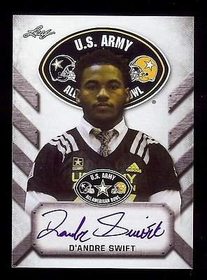 D'ANDRE SWIFT Rookie Georgia Bulldogs 2017 Leaf Army Certified AUTOGRAPH RC from Leaf