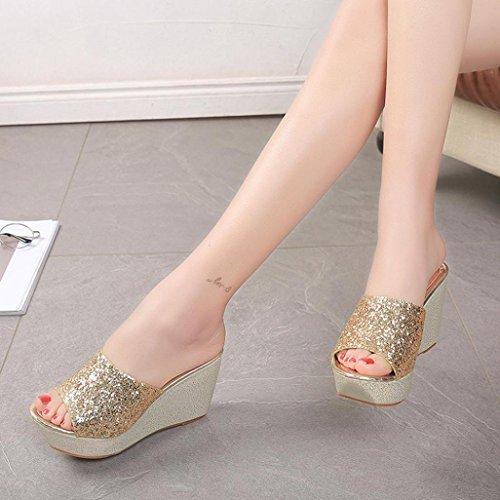 Damen Sandalen, SHOBDW Damen Hausschuhe Open Toe Schuhe Wedge Slip High Heel Hausschuhe Flip Flop Gold