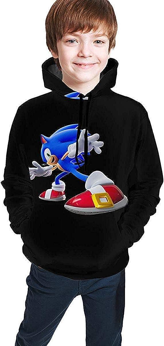 dgfgad Felpa con Cappuccio WEWE Teen Boys Girls Sweatshirt Hoodies Sonic The Hedgehog Athletic Pullover