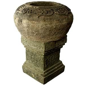 wuona Objects Bali Jarrón de piedra Piedra Natural columna 92cm Macetero Maceta