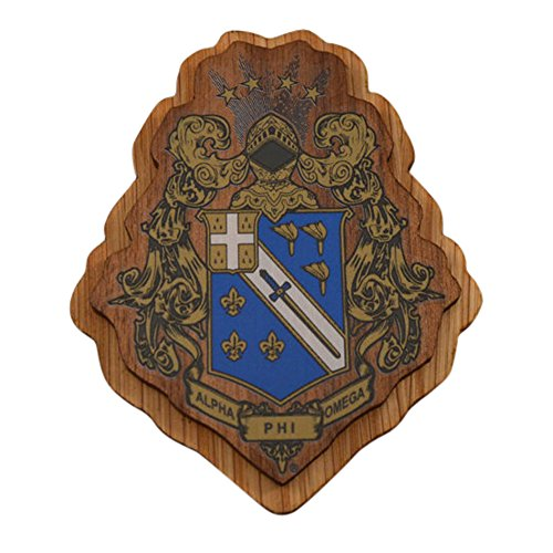 Alpha Phi Omega Double Raised Wood Crest Fraternity Made of Wood for Paddle Mascot (Omega Wood)