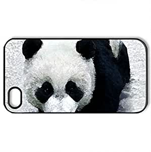 Best Little Panda in the snow - Case Cover for iPhone 4 and 4s (Bears Series, Watercolor style, Black)