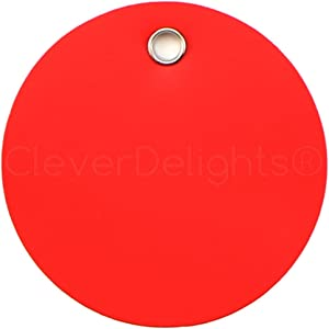 25 Pack - CleverDelights Red Plastic Tags - 3