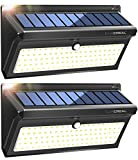 Solar Lights Motion Sensor,100LED Wireless Solar Security Lights Outdoor, Waterproof Solar Powered Wall Light Outside with Wide Angle (2 Pack)-LUSCREA