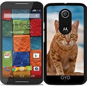 Funda para Motorola Moto X (Génération 2) - Gato Lindo Del Jengibre En Un Acantilado by Katho Menden