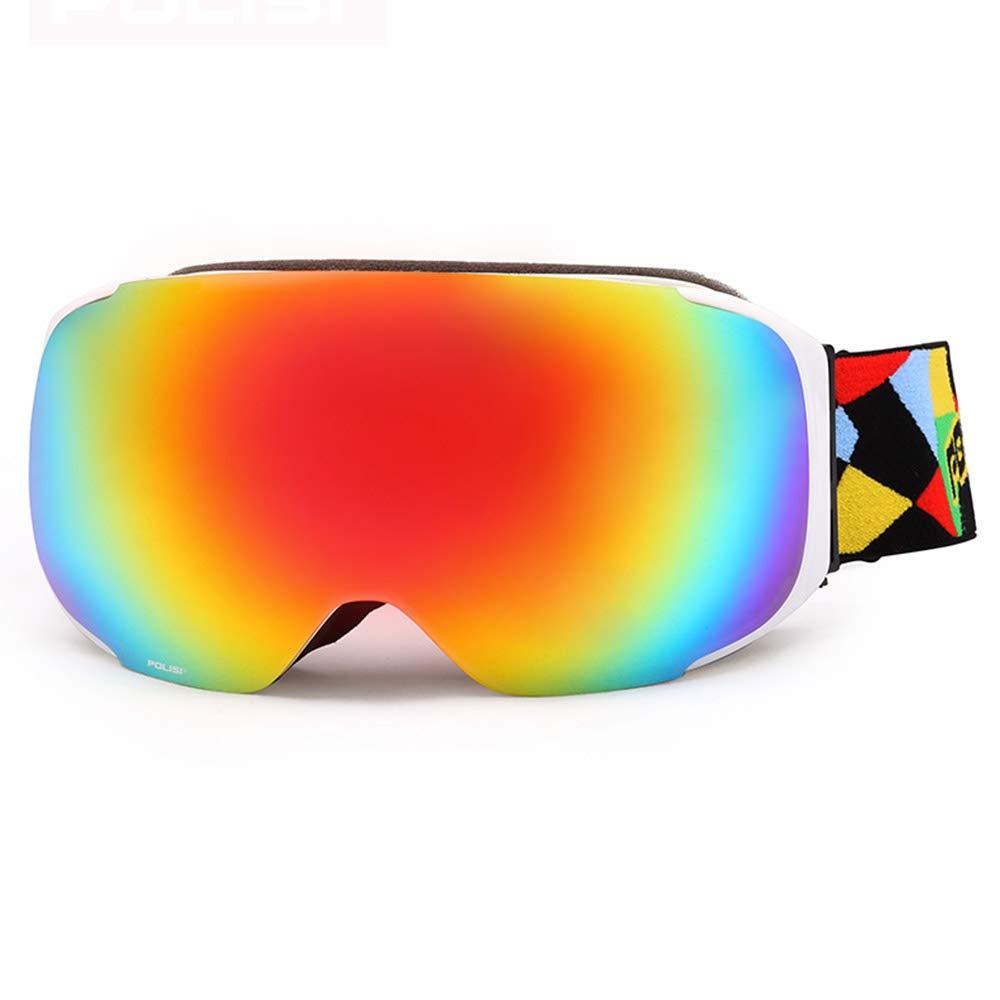 WJ スキーゴーグル スキーゴーグル - PC、ダブルアンチフォグ、交換レンズ、昼夜調整可能なミラーバンド、近視眼の偏光、大人男性と女性のプロのアウトドアスキーと登山器具コートHDゴーグル - 5色 /-/
