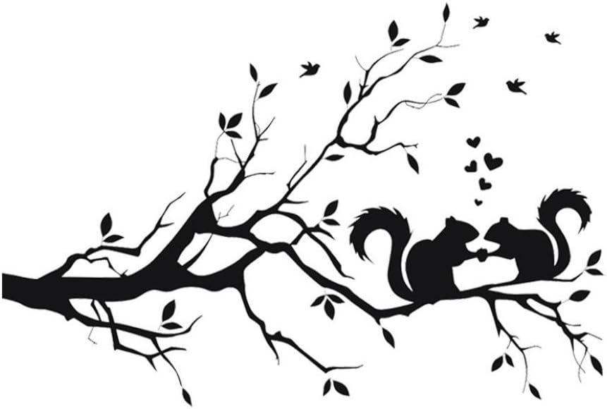 Cinnamou Mode /Écureuil Sur Long Arbre Branche Sticker Mural Animaux Chats Art Decal Enfants Chambre D/écor Sticker Muraux