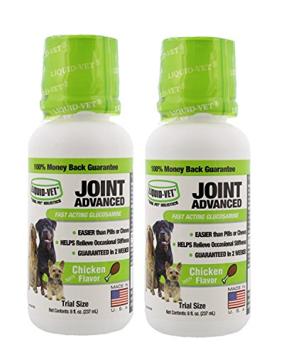 Liquid-Vet Joint Formula – Fast Acting Glucosamine for Joint Aid ADVANCED in Canines – Chicken Flavor - Trial Size, Buy 1 Get 1 Free - 8 fl oz (Formula Chicken Joint)