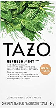 Tazo Green Tea Bags Refresh Mint, 20 Count (Pack of 6)