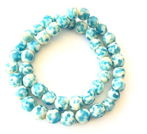 45 Transparent matte blue multi Ghana Round Krobo Recycled Glass African trade beads- Strand of Eco-Friendly Fair Trade Beads from (African Recycled Glass Beads)