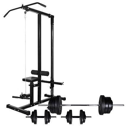 Festnight- Máquina de Musculación con Pesas y Mancuernas Pesas Mancuernas 60,5 kg