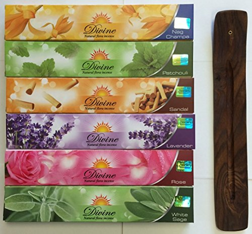 Gift Set of 6 Nag Champa Sandalwood Patchouli Rose Lavender and White Sage Incense Kit(incense Holder Included) ()