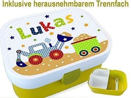Brotdose Mit Namen Bagger Geschenk Zur Einschulung Zum Geburtstag
