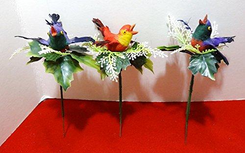 Antique Plastic Christmas Decorations Spun Cotton Birds Set of 3 - Radko Presents