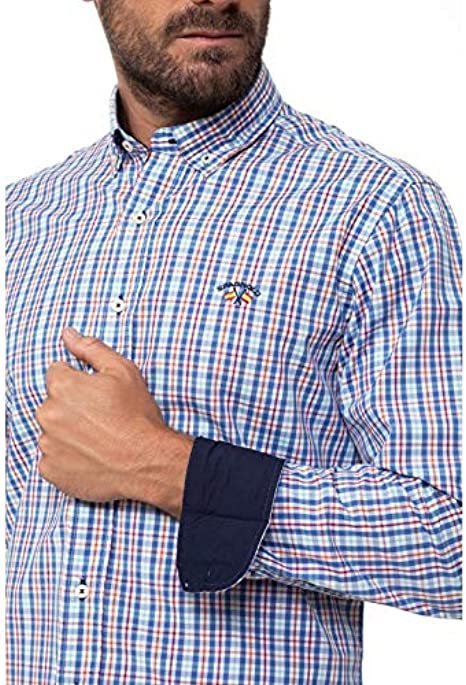 Spagnolo 104002547064 Camisa Casual, Multicolor (Celeste ...