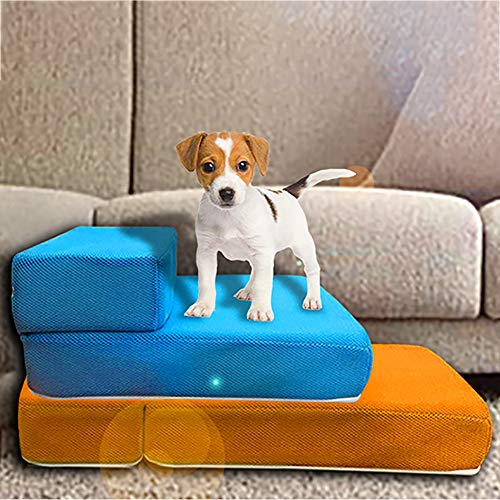 Pet Portable Pet Stairs | Steps for Dogs & Cats | Dog & Cat Ramp | Perfect for Bed & Sofa | Indoor Only | Removable Washable Carpet Tread for Dog cat Pets
