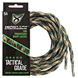 IRONLACE Paracord 550 shoe laces for sneakers, running, hikers and boots, Woodland Camo, 63' round shoelaces