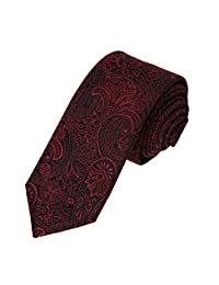 EAE2B01C Black Red Paisley Woven Microfiber Skinny Neckties Dress Presents Perfect Fashion By Epoint