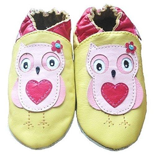 Tinys - Babyschuhe leder, krabbelschuhe - Gelb Eule - 6-12 Monate