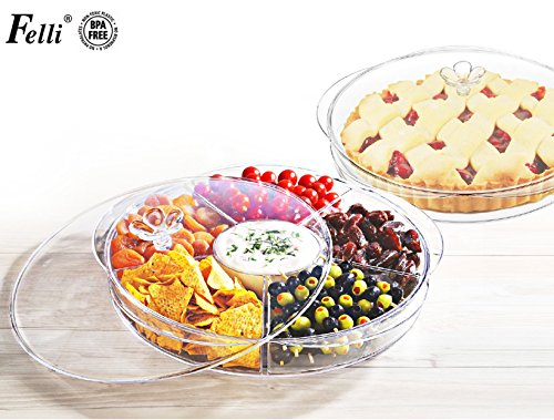 (Multi-function Serving-ware) Flower Divided Server 16'' Round Sever, with lid on.Chip, fruit, finger food serving tray with 6 compartments and lid. (U458498) by Felli / Tabletop